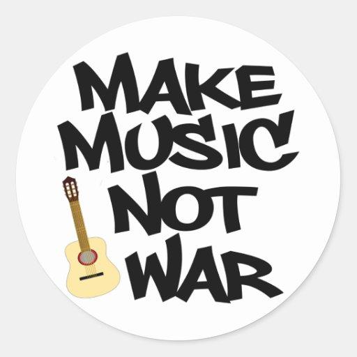 Haga guerra de la música no la guitarra acústica etiqueta redonda