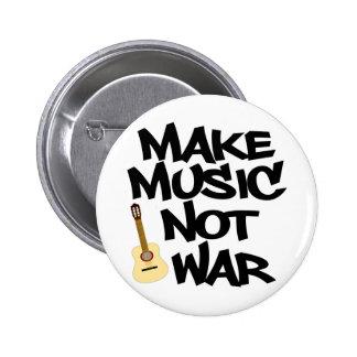 Haga guerra de la música no la guitarra acústica pin redondo de 2 pulgadas