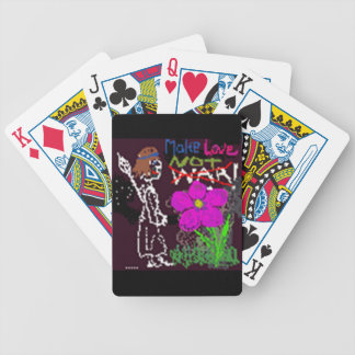 Haga guerra del amor no el bosquejo negro lindo de baraja de cartas