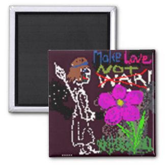 Haga guerra del amor no el bosquejo negro lindo de imán cuadrado