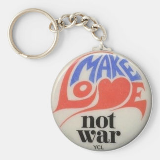 Haga guerra del amor no el símbolo de paz retro llavero
