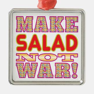 Haga la ensalada v2 adorno navideño cuadrado de metal