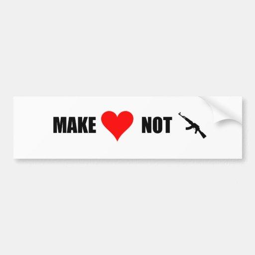 Haga la guerra del amor no etiqueta de parachoque
