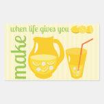 Haga la limonada pegatina rectangular