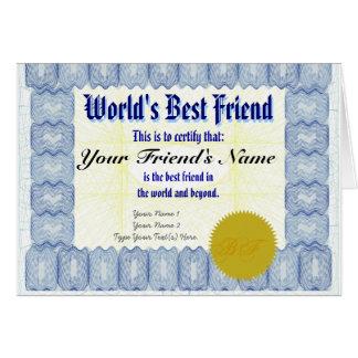 Haga la tarjeta de regalo del certificado del mejo