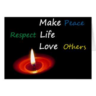 Haga las paces, vida del respecto, amor otros tarjeta de felicitación