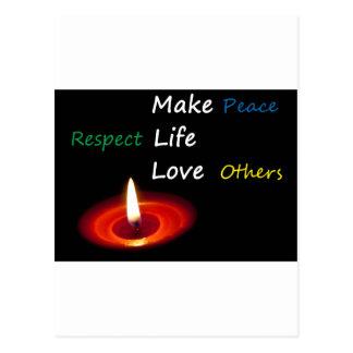 Haga las paces, vida del respecto, amor otros tarjeta postal