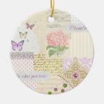 Haga lo que usted ama - collage rosado y poner cre ornamento de navidad