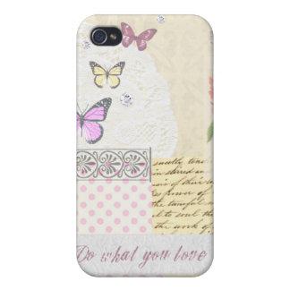 Haga lo que usted ama - collage rosado y poner cre iPhone 4 protector