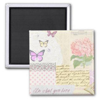 Haga lo que usted ama - collage rosado y poner cre imán cuadrado