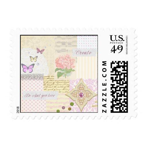 Haga lo que usted ama - collage rosado y poner sello postal