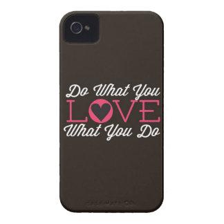 Haga lo que usted ama negro Case-Mate iPhone 4 funda