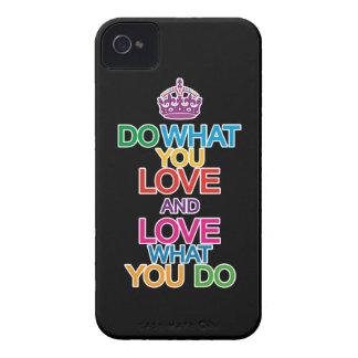 Haga lo que usted ama y ame lo que usted hace el c Case-Mate iPhone 4 protectores