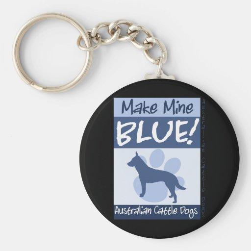 Haga los míos azules llaveros personalizados