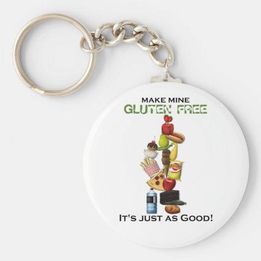 Haga los míos el gluten libre - para los fondos li llavero personalizado