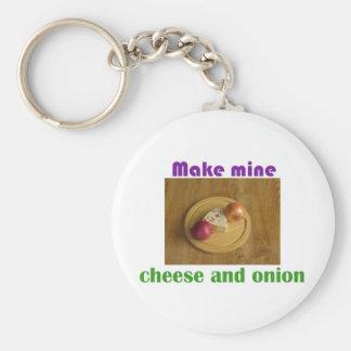 Haga los míos el queso y la cebolla llavero redondo tipo pin