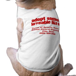 Haga publicidad de la adopción adorable del mascot playera sin mangas para perro