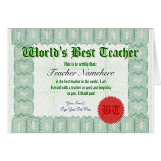 Haga que el mejor profesor de un mundo certifica tarjetas
