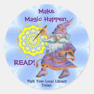 Haga que la magia sucede.  ¡LEA! Pegatina Redonda