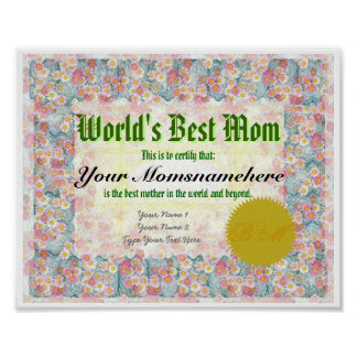Haga que la mejor mamá de un mundo certifica la im impresiones