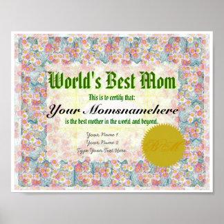Haga que la mejor mamá de un mundo certifica la im póster