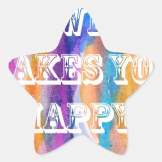 Haga qué le hace diseño feliz del watercolour pegatina en forma de estrella