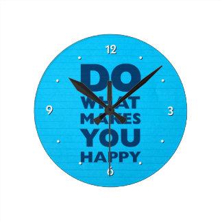Haga qué le hace el papel azul feliz del cuaderno reloj redondo mediano