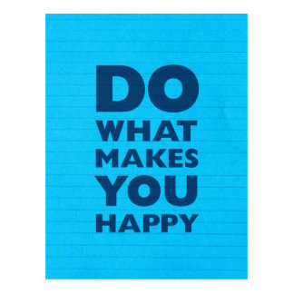 Haga qué le hace el papel azul feliz del cuaderno postal