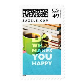 Haga qué le hace feliz, café, los libros, y papel sellos