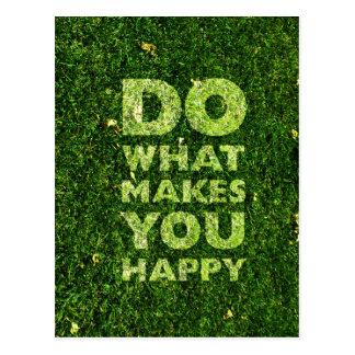Haga qué le hace textura feliz de la hierba postales