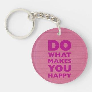 Haga qué le hacen el papel rosado feliz del cuader llavero redondo acrílico a doble cara