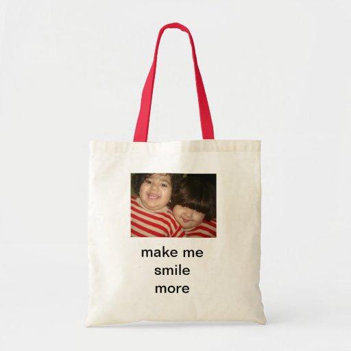 haga que sonríe más bolsas lienzo