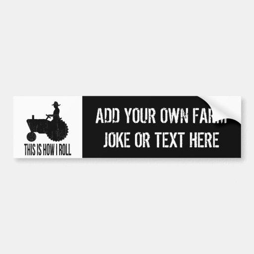 Haga que su propia granja bromea o el cuidado etiqueta de parachoque