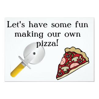 """Haga que su propia pizza invita invitación 5"""" x 7"""""""