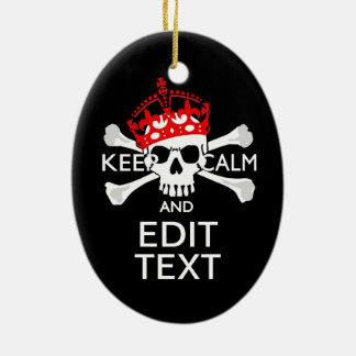 Haga que su texto guarde el cráneo tranquilo de la adorno navideño ovalado de cerámica