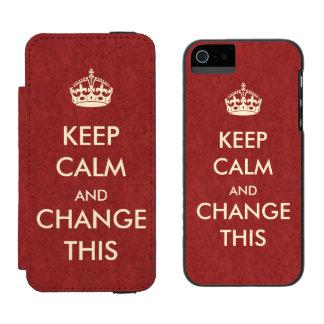 Haga que sus los propios guardan calma funda billetera para iPhone 5 watson