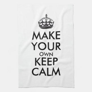 Haga que sus los propios guardan la calma - negro toalla de mano