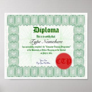 Haga que un diploma certifica la impresión póster