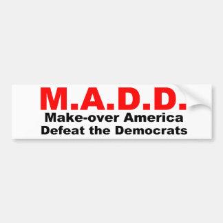 Haga sobre América derrote el Democrates Pegatina De Parachoque