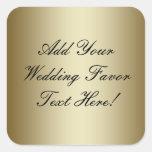 Haga su propio favor del boda del oro calcomania cuadradas personalizadas