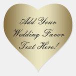 Haga su propio favor del boda del oro colcomanias de corazon personalizadas