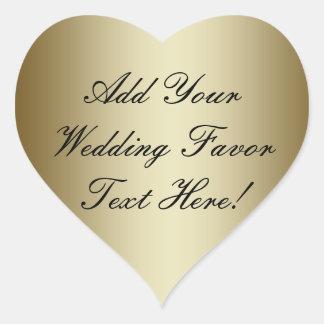 Haga su propio favor del boda del oro pegatina en forma de corazón