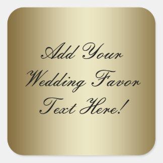 Haga su propio favor del boda del oro pegatina cuadrada