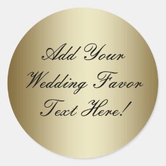 Haga su propio favor del boda del oro pegatina redonda