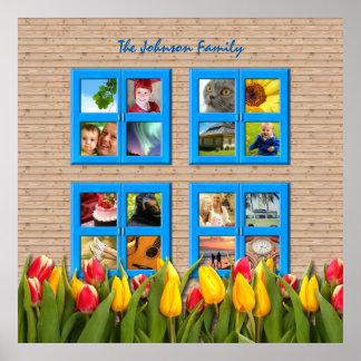 Haga su propio tulipán de la ventana del collage póster