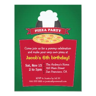 """Haga sus propios niños de la pizza a la fiesta de invitación 4.25"""" x 5.5"""""""