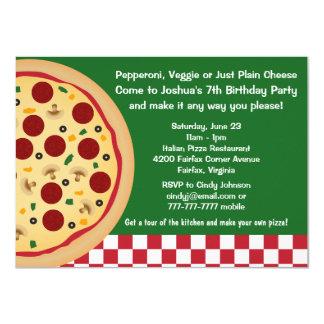 """Haga sus propios niños de la pizza a la fiesta de invitación 4.5"""" x 6.25"""""""