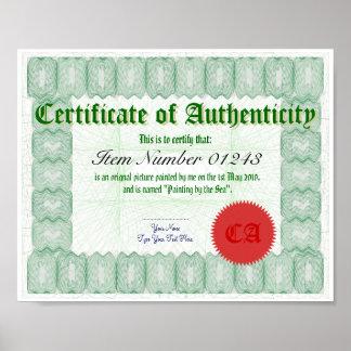 Haga un certificado de la autenticidad imprimir póster