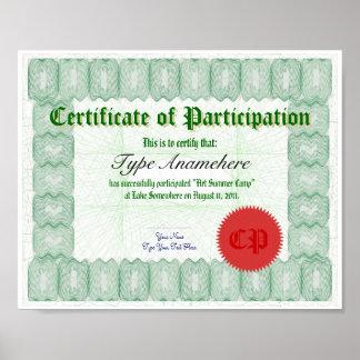 Haga un certificado de la participación póster