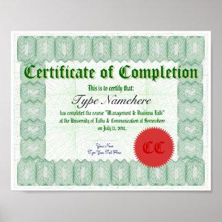 Haga un certificado de la realización imprimir poster